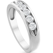 1/2ct Diamond Mens Wedding Ring Channel Set High Polished Band 14K White Gold
