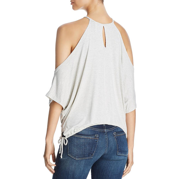 Womens Striped Cold Shoulder Casual Top