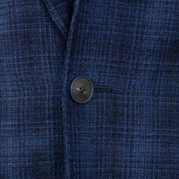 CARUSO Navy Blue Silk Blend Plaid 3 Roll 2 Button Sport Coat