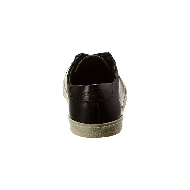 CELINE Women's Leather Triomphe Low Top Sneakers Shoes Black