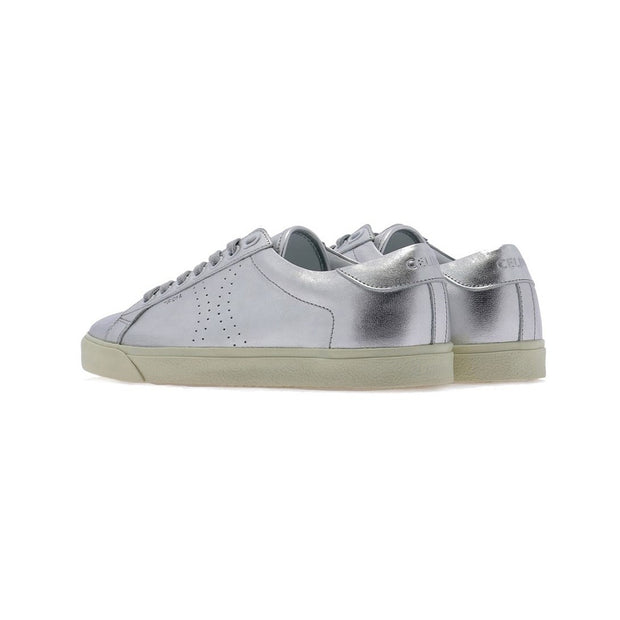 CELINE Women's Leather Triomphe Low Top Sneakers Shoes Silver