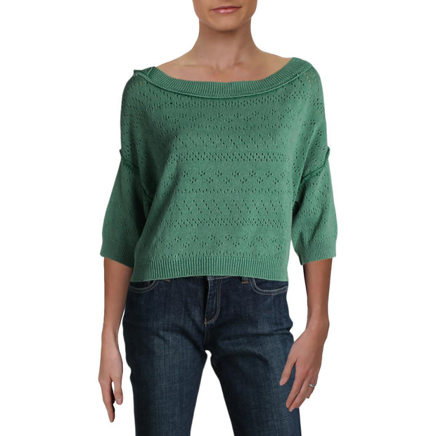 Sand Castle Womens Ribbed Trim Cropped Pullover Sweater