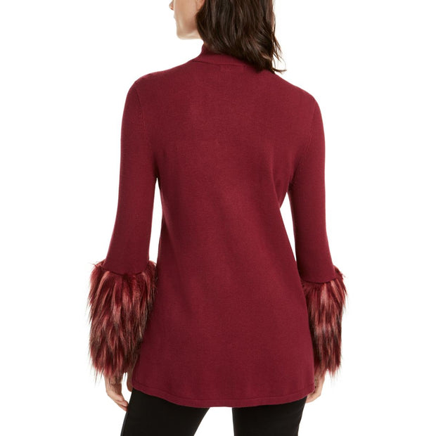 Petites Womens Ribbed Knit Faux Fur Mock Turtleneck Sweater