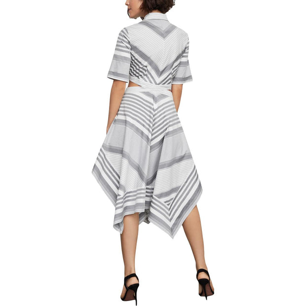 Womens Striped Cut-Out Cocktail Dress
