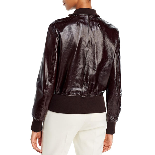 Womens Patent Leather Aviator Bomber Jacket