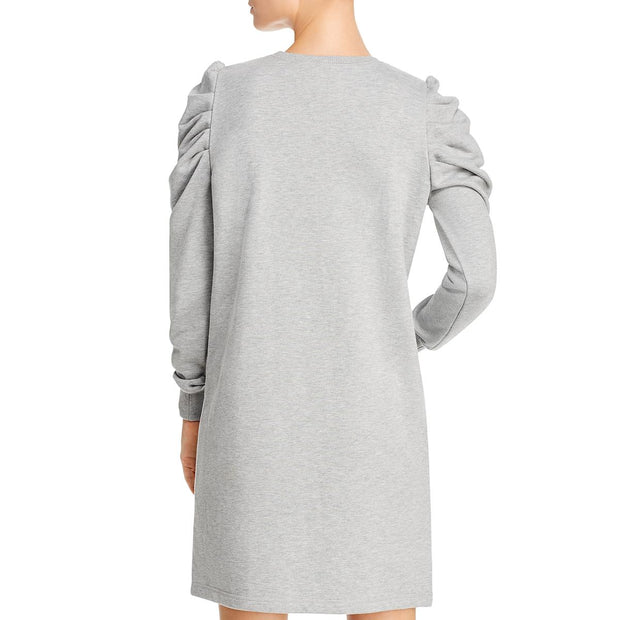 Womens Pleated Shoulder Long Sleeve Sweaterdress