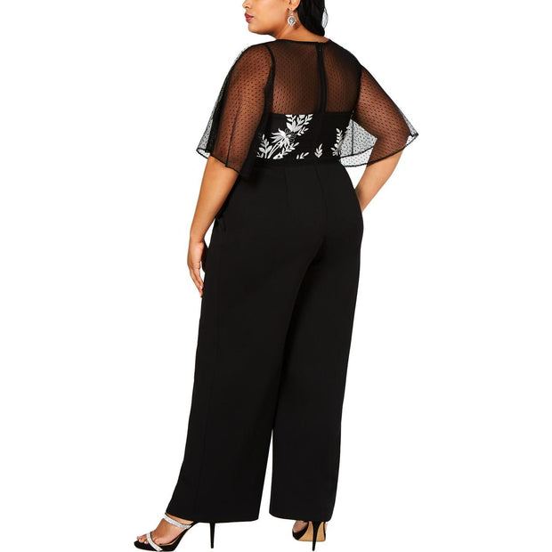 Plus Womens Mesh Embroidered Jumpsuit