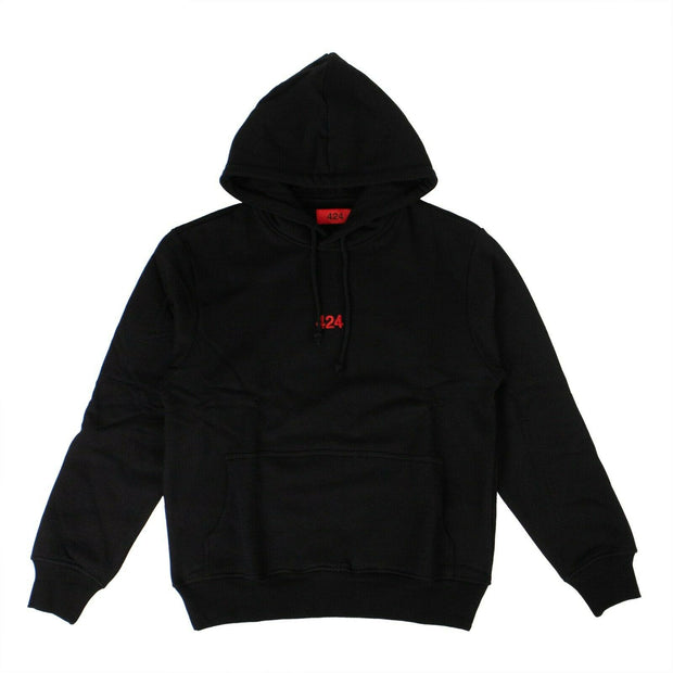 424 ON FAIRFAX Black Cotton Logo Embroidery Hoodie Sweatshirt
