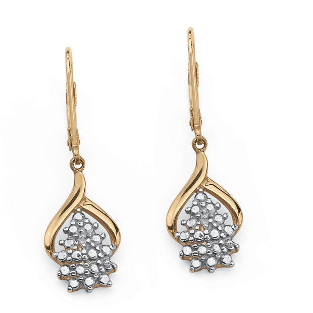 18K Yellow Gold over Sterling Silver Genuine Diamond Accent Cluster Drop Earrings (25x14mm)