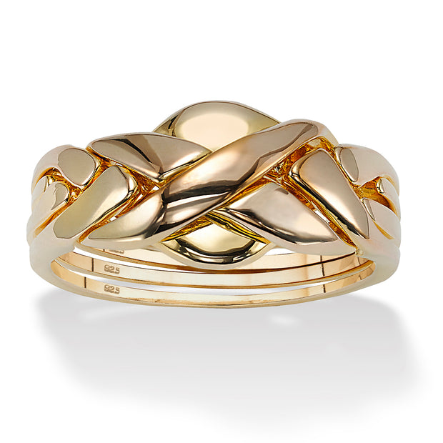 14K Yellow Gold over Sterling Silver Puzzle Ring