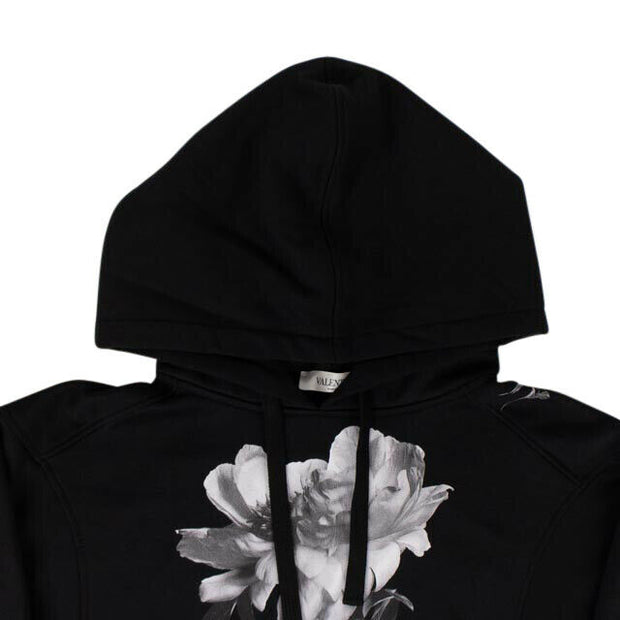 VALENTINO Black Cotton Floral Print Sweatshirt