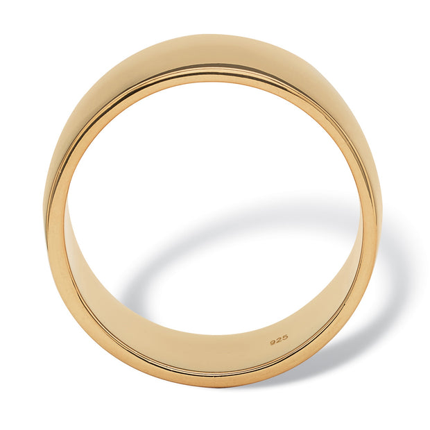 18K Yellow Gold over Sterling Silver Polished Wedding Band Ring (11.5mm)