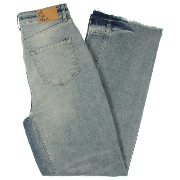 Womens Relaxed Slouch Mid-Rise Straight Leg Jeans
