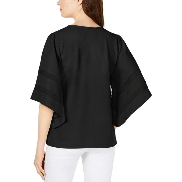 Womens Textured Bell Sleeves Top