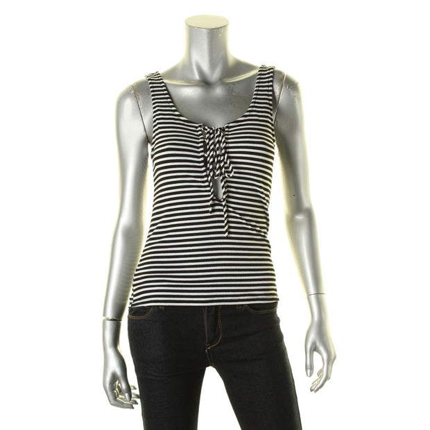 Vintage Havana Womens Striped Lace-Up Tank Top