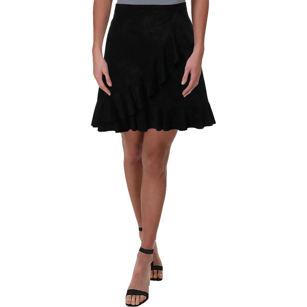 Vibe Womens Faux Suede Above Knee Tulip Skirt