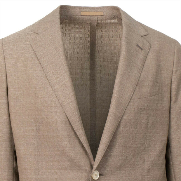 CARUSO Light Brown Textured Wool 2 Button Sport Coat