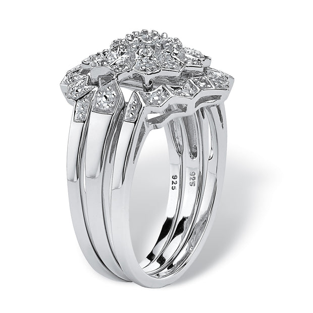 Platinum over Sterling Silver Round Genuine Diamond Bridal Ring Set (1/7 cttw, I Color, I3 Clarity)