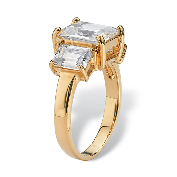 18K Yellow Gold Plated Emerald Cut Simulated Birthstones 3 Stone Ring - April - Diamond