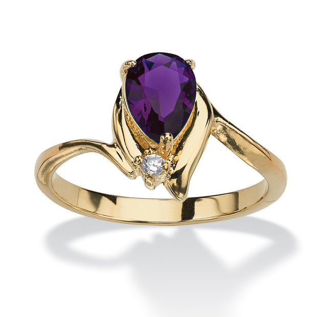 18K Yellow Gold Plated Pear Cut Simulated Birthstone and Crystal Ring - February - Amethyst