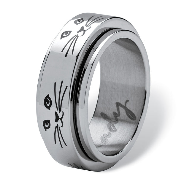Black Ion Plated Stainless Steel Cat Lady Spinner Ring