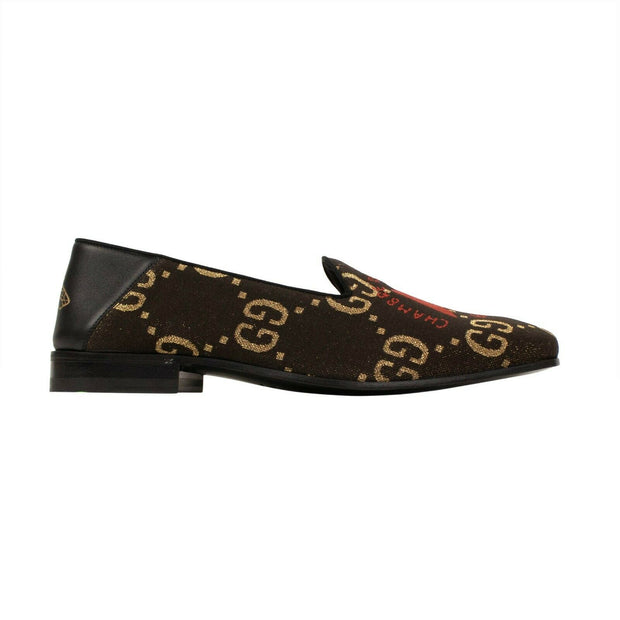 GUCCI Brown GG Embroidered Skull Loafers Shoes