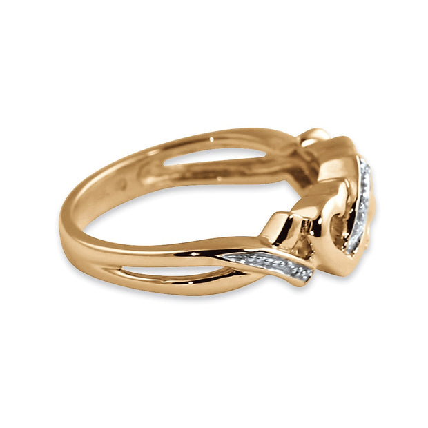 18K Yellow Gold over Sterling Silver Genuine Diamond Accent Interlocking Heart Promise Ring