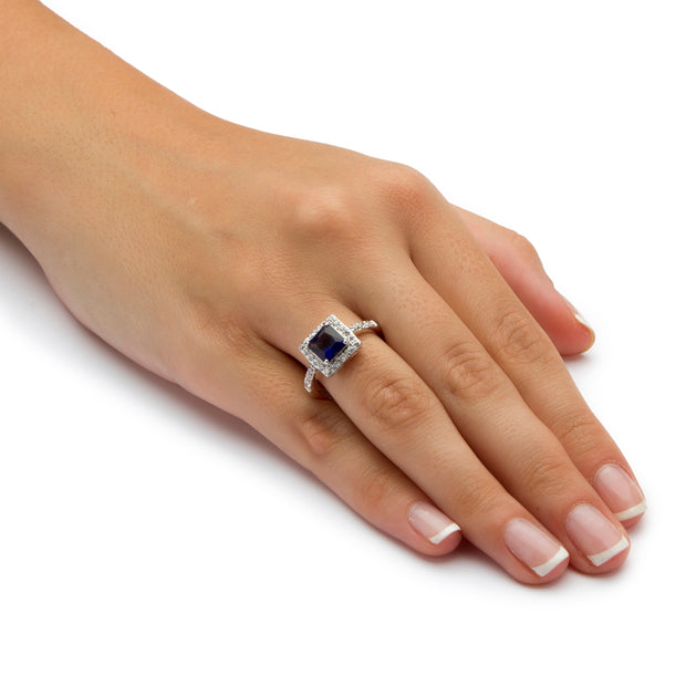Sterling Silver Princess Cut Simulated Birthstone and Crystal Halo Ring - September - Sapphire
