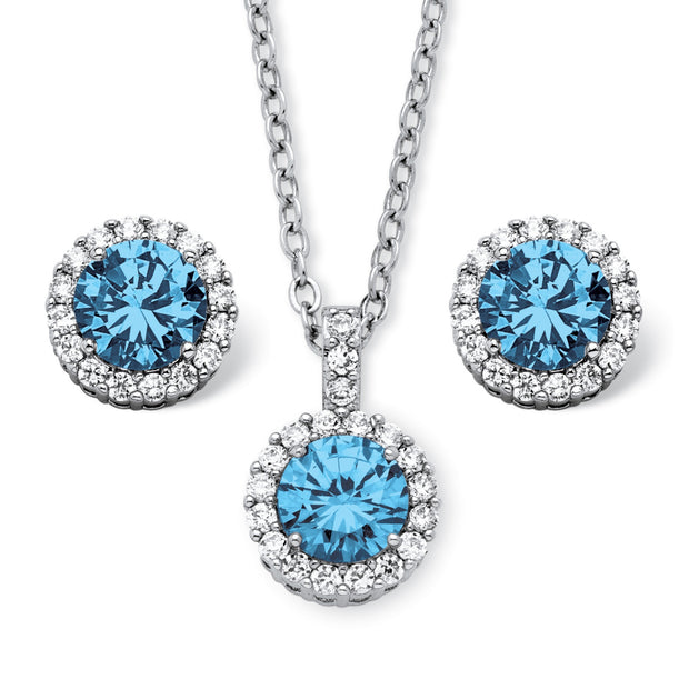 Silvertone Round Simulated Birthstone Halo Stud Earring and Solitaire Pendant Set (11mm) with 18 inch Chain