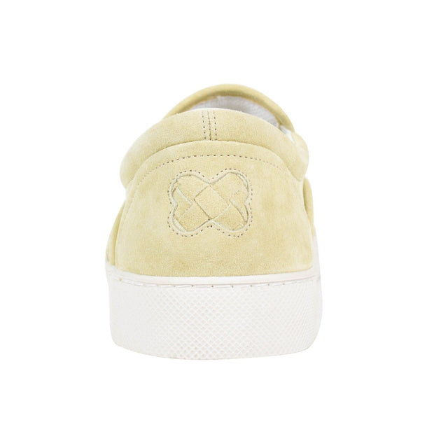 BOTTEGA VENETA Pale Yellow Suede Woven Slip On Sneakers