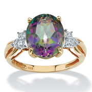 18K Yellow Gold over Sterling Silver Oval Cut Genuine Mystic Fire Topaz and Diamond Accent Ring