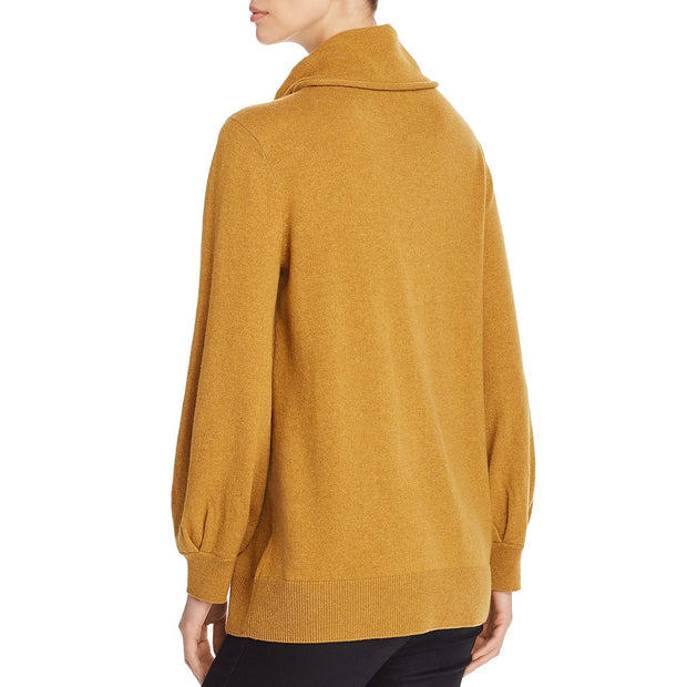 Eileen Fisher Womens Extra Fine Merino Wool Ribbed Trim Turtleneck Sweater