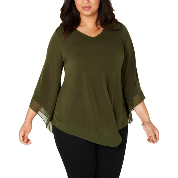 Plus Womens 3/4 Sleeves Scoop-Neck Blouse