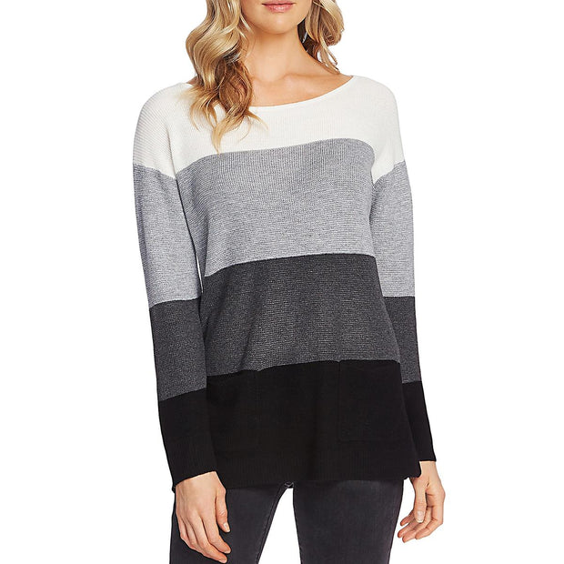 Vince Camuto Womens Waffle Stitch Font Pockets Sweater