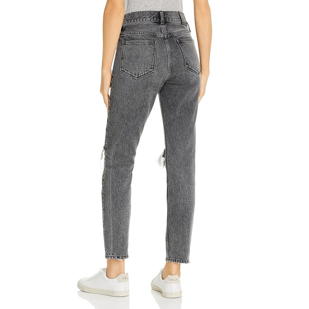 Anine Bing Womens Brenda Destroyed Ankle Tapered Leg Jeans