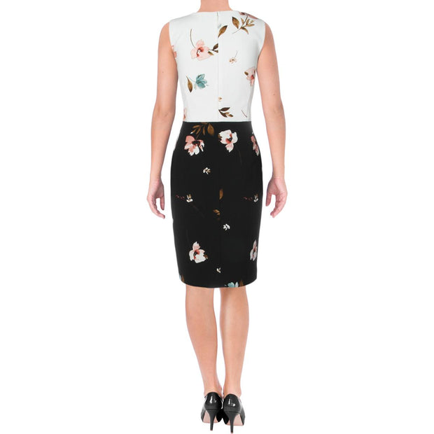 Valerie Womens Floral Sleeveless Sheath Dress