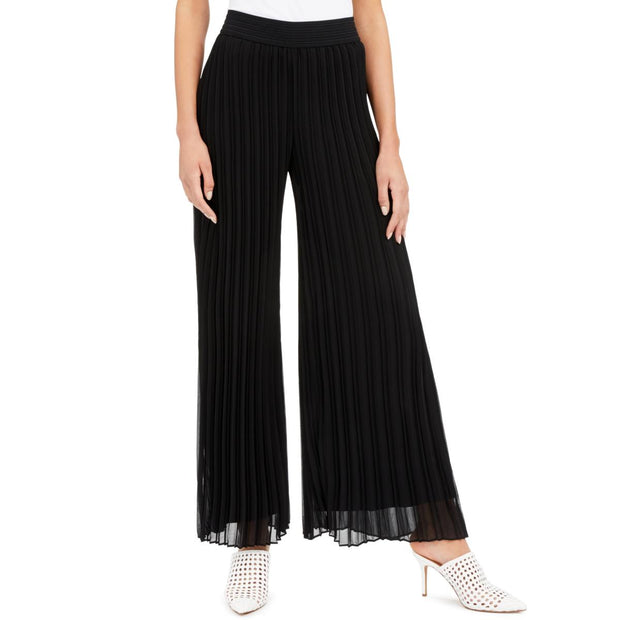Womens Pleated High Rise Wide Leg Pants
