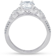 G/SI 1.50ct Vintage Diamond Engagement Ring 14k White Gold Round Cut Enhanced