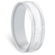 6MM Solid 14k White Gold Mens Hand Carved High Polished Wedding Band Mens Ring