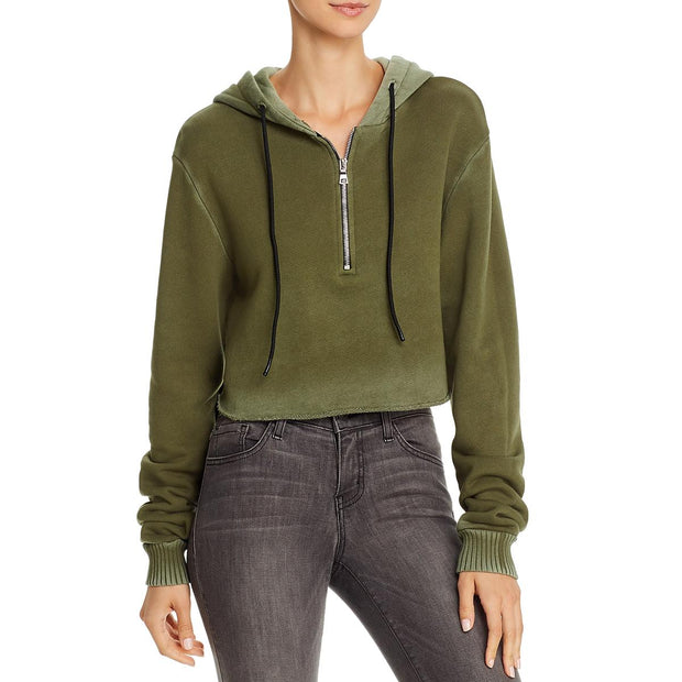 Brooklyn Womens Crop Raw Hem Hoodie