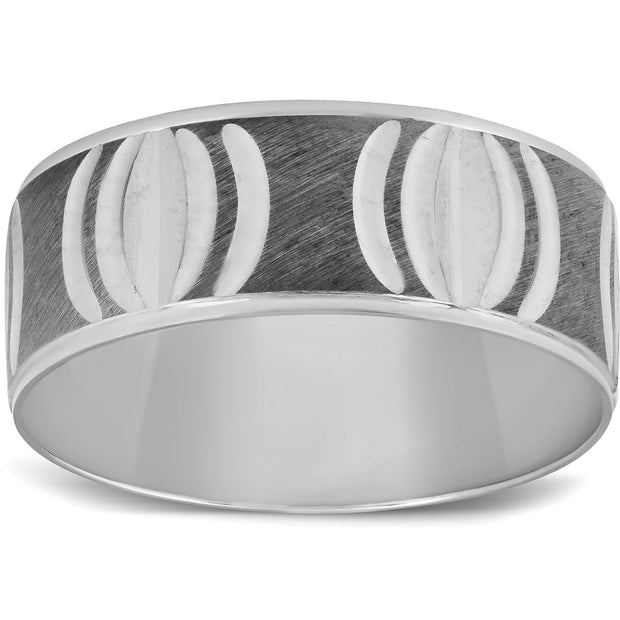 Mens 8mm Wide 10k White Gold Hand Carved Black & White Gold Wedding Band