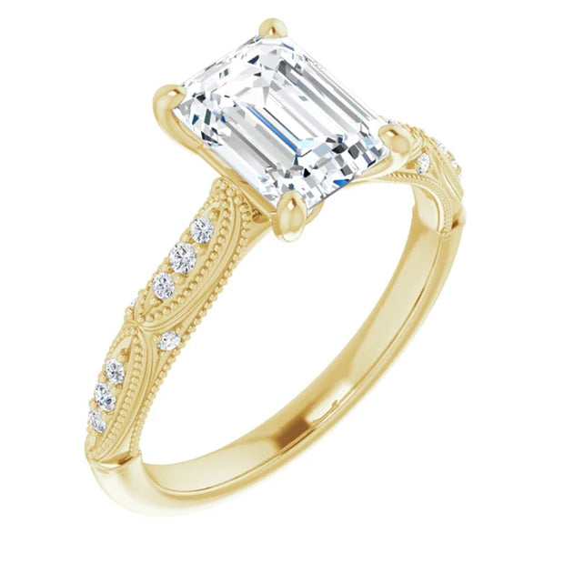 SI1 1 1/4ct TDW Emerald Cut Diamond Engagement Ring 14k Yellow Gold Enhanced