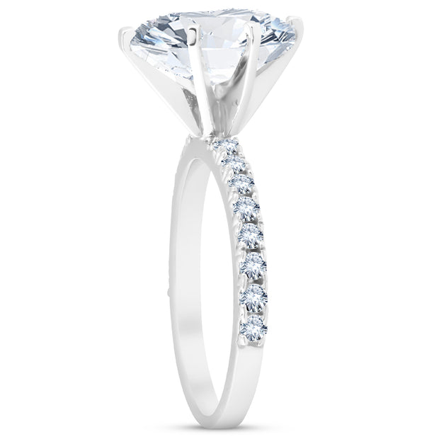 3 Ct Oval Diamond Engagement Ring (2 1/2ct center) 14k White Gold