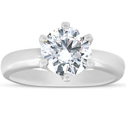 1 3/4Ct Diamond Solitaire Engagement Ring 14k White Gold 6-Prong Enhanced