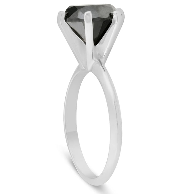 1 1/4Ct Black Diamond Solitaire Engagement Ring 10k White Gold