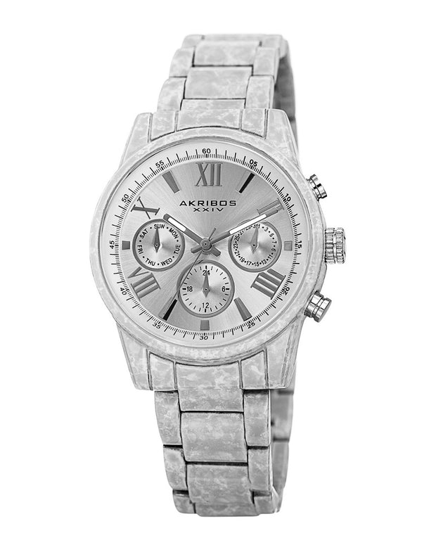 Akribos Xxiv Women's Stainless Steel Porcelain Coated Watch
