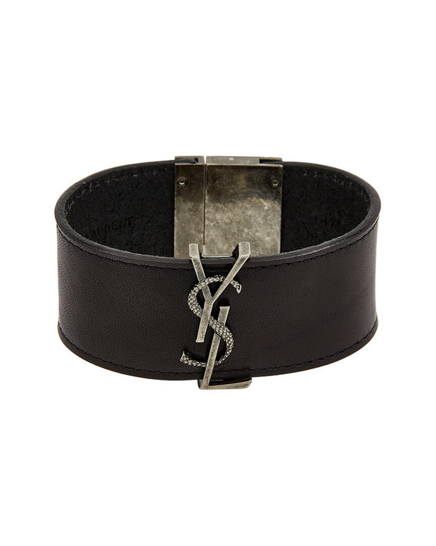 Saint Laurent Monogram Plaque Leather Bracelet