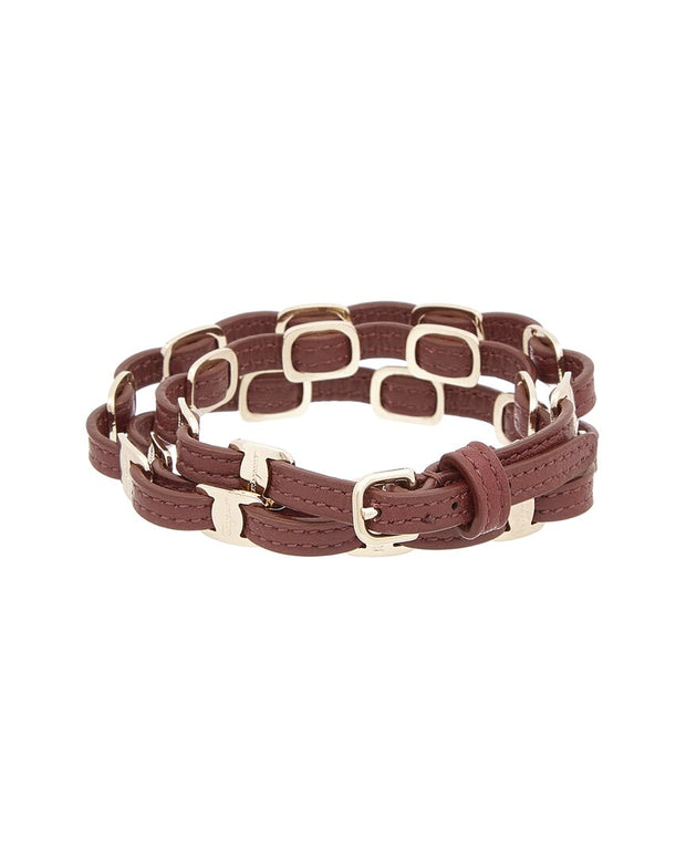 Salvatore Ferragamo Triple Wrap Leather Bracelet
