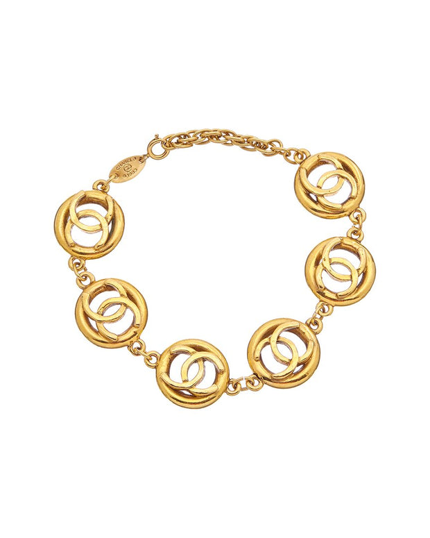 Pre-Owned Chanel Gold-Tone Icon Series Cc Pendant Bracelet