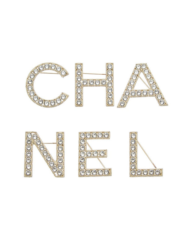 Pre-Owned Chanel Gold-Tone Logo Brooch Set